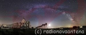 "With the arrival of spring, the Milky Way begins to be visible in the skies of Portugal at dawn, in this image, captured in Monsaraz,  in the Alqueva´s Dark Sky Reserve, you can watch it in plenty, thanks to this mosaic of 21 images that allows a large field of view,  revealing this ""arm"" of our galaxy above the Convent of Orada (dated 1670).  Near the center and right of palm trees, the moon shines brightly, although not interfering with the giant arc of the Milky Way where  it is possible to distinguish a lot of constellations like Ursa Minor, with the polaris star to the left of the image, until the swan  (Cygnus), with its North America nebula (NGC7000) clearly visible, down to the right, we still find the constellation of Sagittarius  and Scorpio, with the brilliant super giant star, Antares. Canon 60Da - ISO1600 Lens 24mm f/2; Exp. 15 secs. Mosaic of 21 images, taken in 06/04/2013 at 5h32 AM."